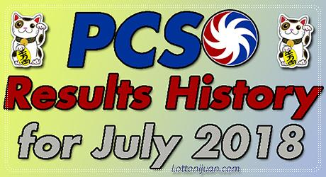 PCSO Lotto Results History for July 2018 - Lotto Ni Juan