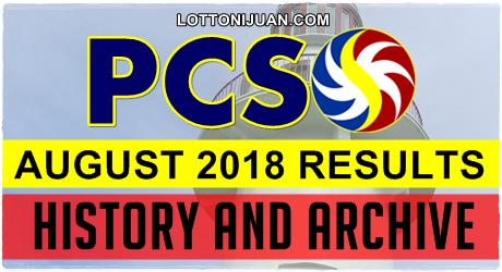 PCSO Lotto Results History for August 2018 - Lotto Ni Juan